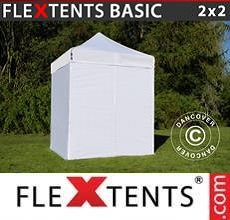 Carpa plegable FleXtents Basic v.2, 2x2m Blanco, Incl. 4 lados