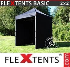 Carpa plegable FleXtents  Basic v.2, 2x2m Negro, Incl. 4 lados
