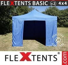Carpa plegable FleXtents  Basic v.2, 4x4m Azul, incl. 4 lados