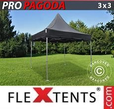 Carpa plegable FleXtents PRO Peak Pagoda 3x3m Negro, incluye 4 muros