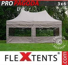 Carpa plegable FleXtents PRO Peak Pagoda 3x6m Latte, incluye 6 muros