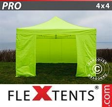 Carpa plegable FleXtents PRO 4x4m Amarillo Flúor/verde, Incl. 4 lados
