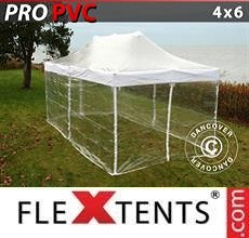 Carpa plegable FleXtents PRO 4x6m Transparente, Incl. 8 lados