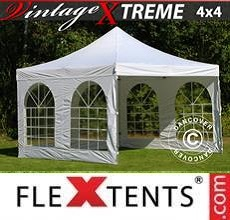 Carpa plegable FleXtents Xtreme Vintage Style 4x4m Blanco, Incl. 4 lados