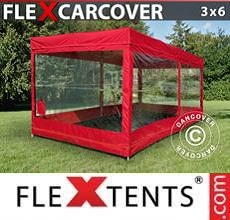 Carpa plegable FleXtents Carcover, 3x6m, Rojo