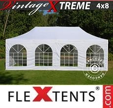 Carpa plegable FleXtents Xtreme Vintage Style 4x8m Blanco, Incl. 6 lados