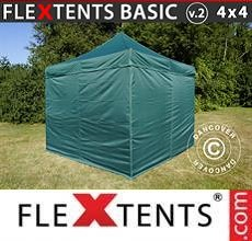 Carpa plegable FleXtents Basic v.2, 4x4m Verde, Incl. 4 lados