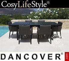 Set de mesa y sillas de jardín, Miami, 1 mesa + 6 sillas, color negro/gris