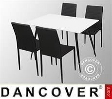 Juego de comedor con 1 mesa de comedor Siena, Blanco/Negro + 4 sillas