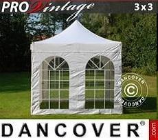 Flextents Carpas Eventos PRO Vintage Style 3x3m Blanco, Incl. 4 lados