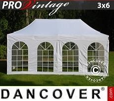Flextents Carpas Eventos PRO Vintage Style 3x6m Blanco, Incl. 6 lados