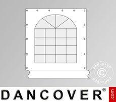 Muro lateral con ventana de 2,3x2,3m para carpa Semi Pro 7x7m, Blanco