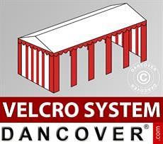Cubierta para tejado con velcro para carpa Exclusive de 6x10m, Blanco/Rojo