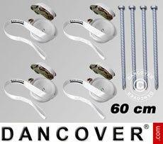 Pack de seguridad 4 (estacas 60cm y cinchas de sujeción), Blanco