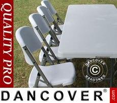 Conjunto para fiesta, 1 mesa plegable (153cm) + 4 sillas, Gris claro
