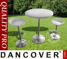 Set para bar, 1 mesa y 2 sillas de bar, Blanco