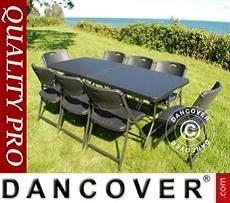 Conjunto para fiestas, 1 mesa plegable con aspecto mimbre (182cm) + 8 sillas con...