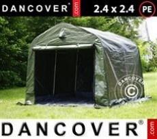 Carpa de almacenamiento PRO 2,4x2,4x2m PE, con cubierta de terreno, Verde/Gris