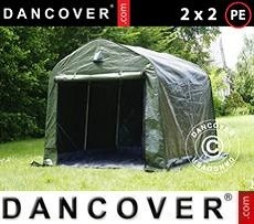 Carpa de almacenamiento PRO 2x2x2m PE, con cubierta de terreno, Verde/gris
