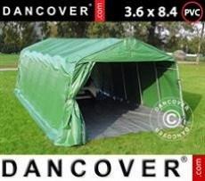 Carpa garaje PRO 3,6x8,4x2,68m PVC, con cubierta de terreno, Verde/Gris