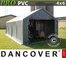 Carpa grande de almacén PRO 4x6x2x3,1m, PVC, Gris