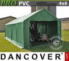 Carpa grande de almacén PRO 4x6x2x3,1m, PVC, Verde