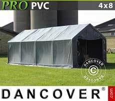 Carpa grande de almacén PRO 4x8x2x3,1m, PVC, Gris