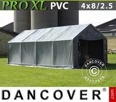 Carpa grande de almacén PRO 4x8x2,5x3,6m, PVC, Gris