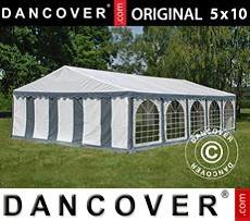 Carpa para fiestas 5x10m PVC, Gris/Blanco