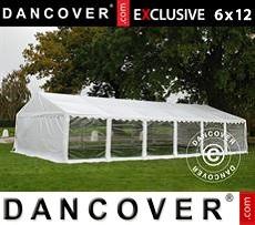 Carpa para fiestas 6x12m PVC, Blanco, Panorama