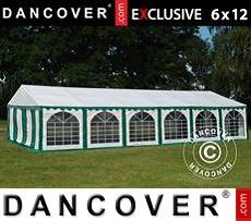Carpa para fiestas 6x12m PVC, Verde/Blanco
