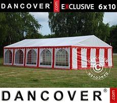 Carpa para fiestas 6x10m PVC, Rojo/Blanco