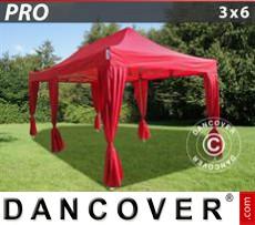 Carpa para fiestas 3x6m Rojo, incl. 6 cortinas decorativas