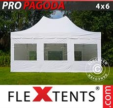 Carpa plegable FleXtents 4x6m Blanco, incluye 8 muros laterales