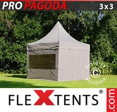 Carpa plegable FleXtents 3x3m Latte, incluye 4 muros laterales