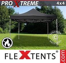 Carpa plegable FleXtents 4x4m Negro, Ignífuga