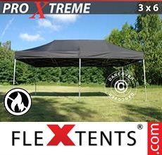 Carpa plegable FleXtents 3x6m Negro, Ignífuga