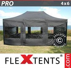 Carpa plegable FleXtents 4x6m Negro, incl. 8 lados