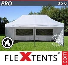 Carpa plegable FleXtents 3x6m Blanco, Ignífuga, Incl. 6 lados