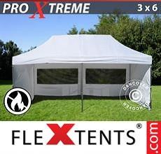 Carpa plegable FleXtents 3x6m Blanco, Ignífuga, Incl. 6 lados