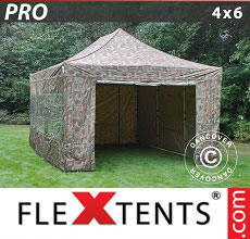 Carpa plegable FleXtents 4x6m Camuflaje, Incl. 8 lados