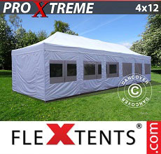 Carpa plegable FleXtents 4x12m Blanco, Incl. lados