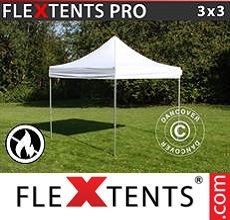 Carpa plegable FleXtents 3x3m Blanco, Ignífuga