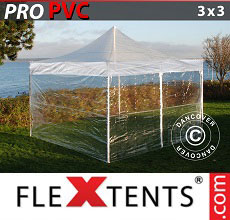 Carpa plegable FleXtents 3x3m Transparente, Incl. 4 lados