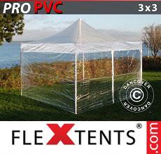 Carpa plegable FleXtents 3x3m Transparente, Incl. 4 lados