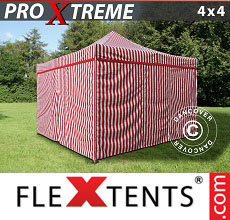 Carpa plegable FleXtents 4x4m Rayado, incl. 4 lados