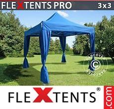 Carpa plegable FleXtents 3x3m Azul, incluye 4 cortinas decorativas