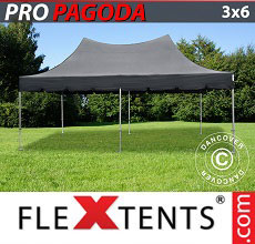 Carpa plegable FleXtents 3x6m Negro, incluye 6 muros laterales