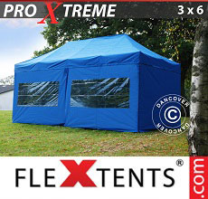 Carpa plegable FleXtents 3x6m Azul, incl. 6 lados