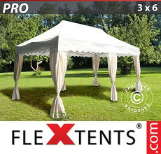 Carpa plegable FleXtents 3x6m Blanco, incl. 6 cortinas decorativas